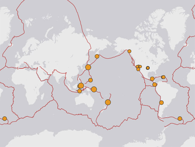 Today's seismic map of the Ring of Fire