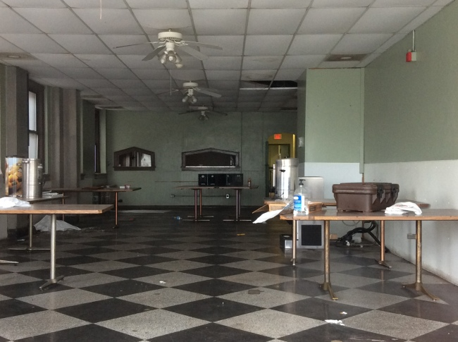 Community dining room at the closed Missouri Hotel