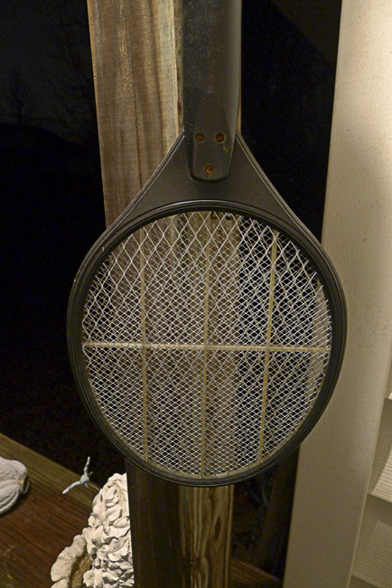 Battery powered fly swatter on winter holiday
