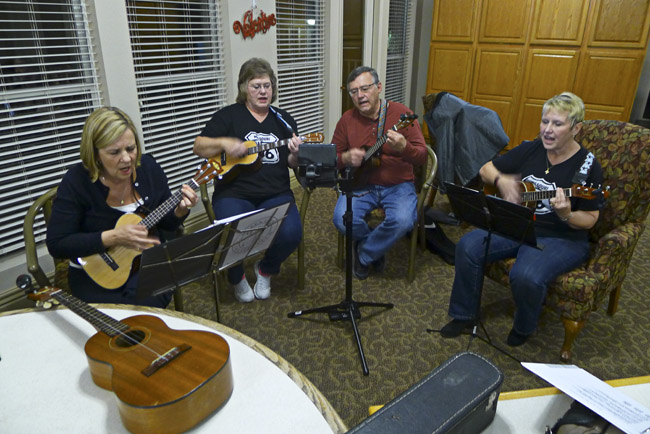 The Queen City Ukulele Club met at The Gardens an assisted living center