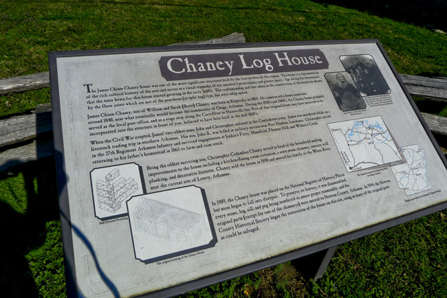 Chaney Log House signage
