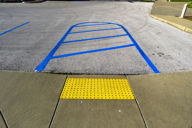 Handicap parking in blue