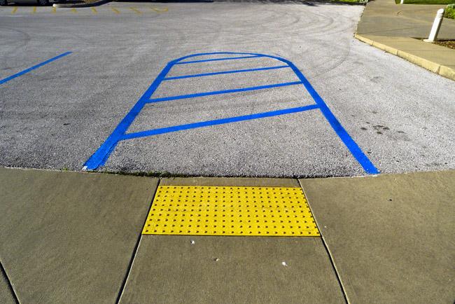 Handicap parking in blue