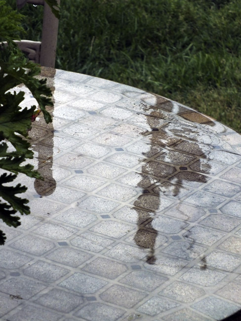 Wet outdoor table top