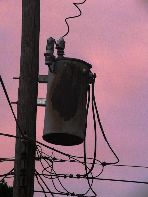 Power transformer at dusk.