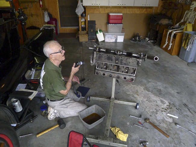 Fred overhauled the engine of a Model T