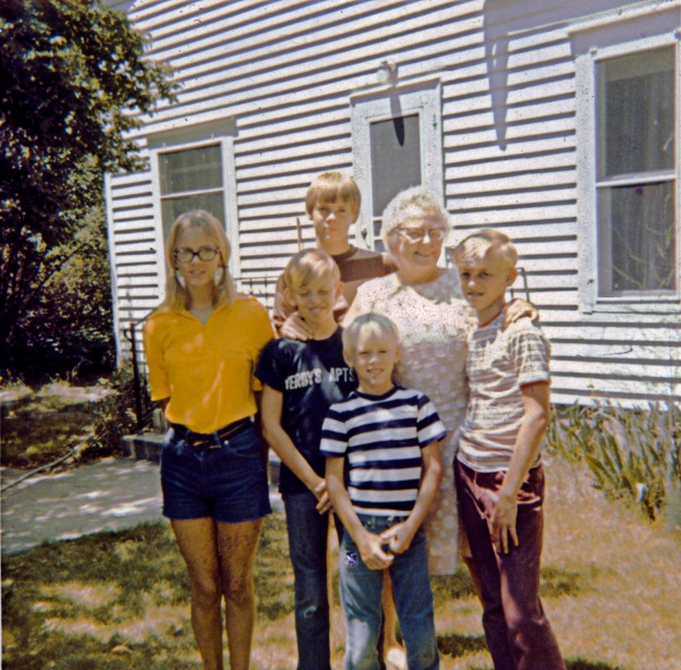 The last photo with my grandmother, Bertha Blanche Sprick, circa 1971 From left to right; Elisa, Michael, Jim, David, Bertha and Greg