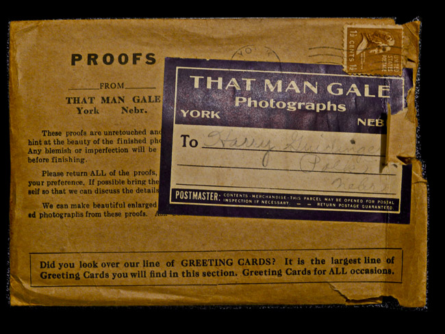 That Man Gale, York, Nebr. Photo processing mailer