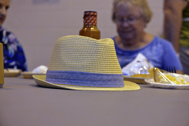 Hat with violet band