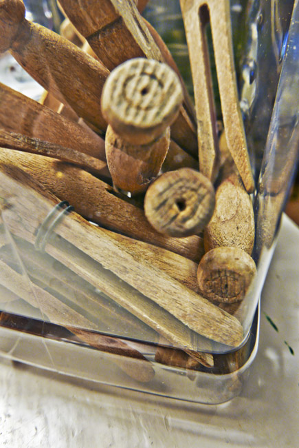 Collection of wooden clothes pins
