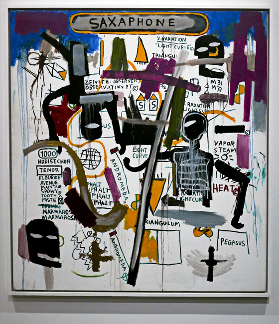 Saxaphone, Jean Michael Basquiat currently on display at The Jordan Schnitzer Museum of Art on the University of Oregon campus.