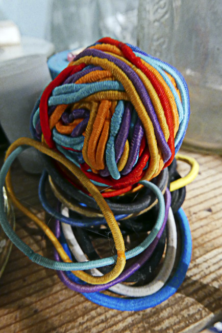 Ball of multicolored hair ties