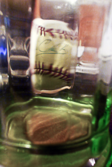 Garage sale abstraction, Coca Cola glass and Will Clark Autograph