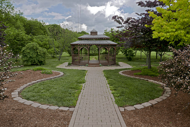 The gazebo in the grove of Redbuds at Close Memorial Park