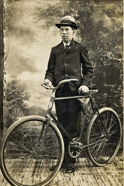 Walter Gustav Sprick and his new bicycle