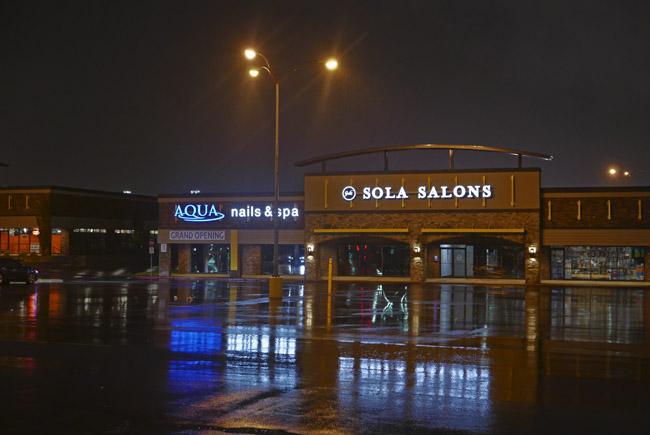 Rain soaked urban parking lot