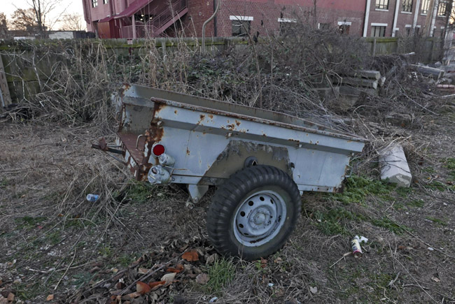 Repurposed pickup truck bed trailer painted blue