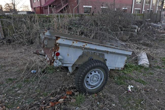 Repurposed pickup truck bed trailer painted blue