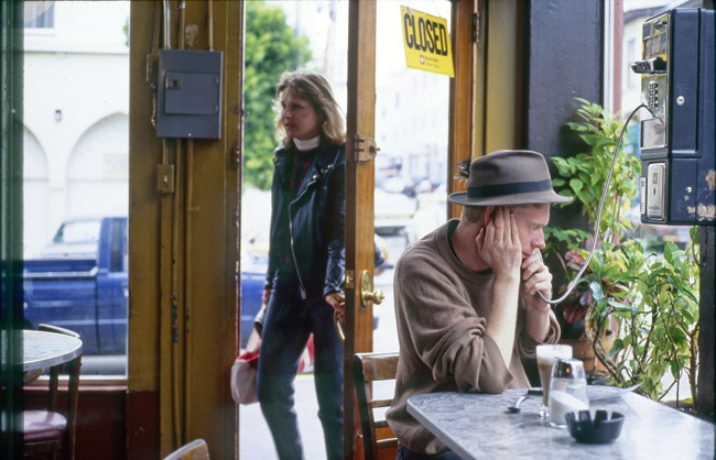 Cafe Trieste, payphone and cigarettes, circa 1991