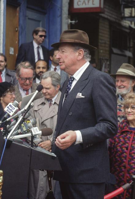 Herb Caen at the naming of William Saroyan Adder, circa 1991