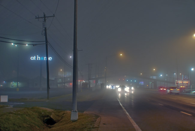 A foggy drive