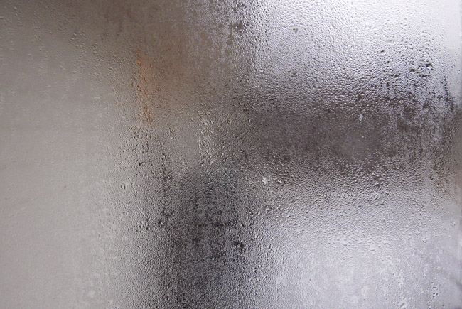 Window condensation on a frigid day