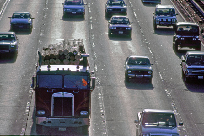 Log truck on the Nimitz Freeway, circa 1987