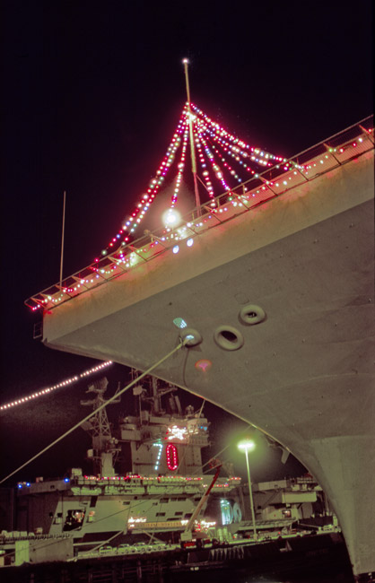 Holidays decorations aboard the USS Carl Vinson and the USS Abraham Lincoln. circa 1993