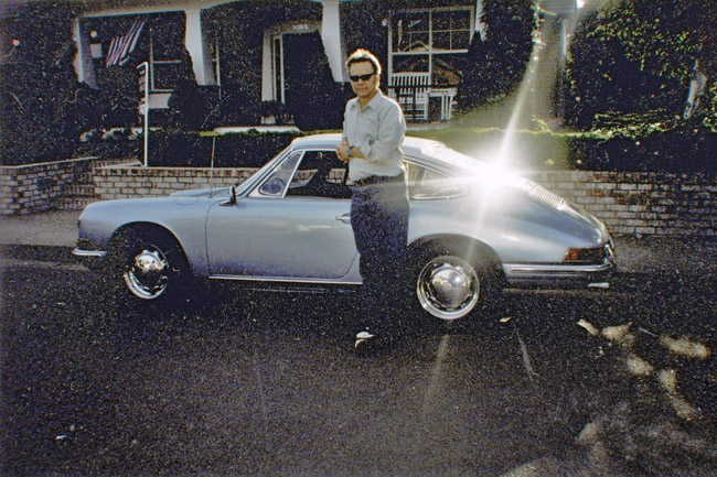 Oregon self-portrait with blue Porsche 912, an unconscious homage to Georges Seurat.