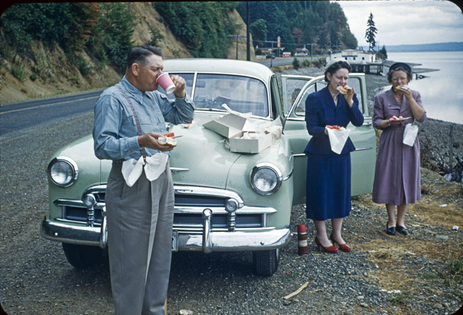 One of my uncle Ben Spricks Kodachrome slides, Coffee and donuts along the Oregon coast, circa 1952