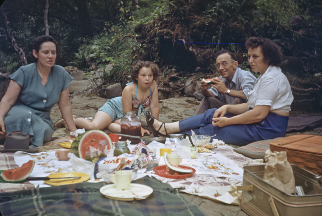 Summer picnic beside a river in Oregon, circa 1954 Photography by Ben Sprick