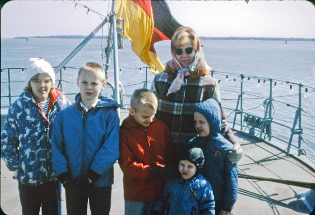 Taking the tour boat to Fort Sumter in the Charleston harbor, circa 1967 From L to R; Elisa Ann, James Kent, Gregory Alan, David Paul, Michael Lee, and my my mother Eileen Joy