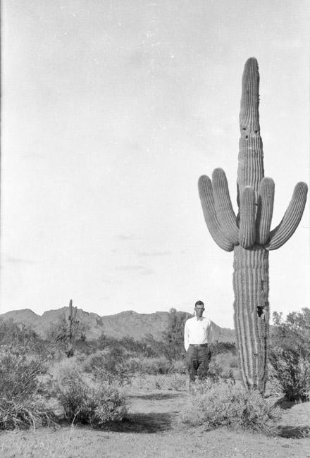 Somewhere in the Arizona desert, Ben Sprick and Saguaro. circa 1930's