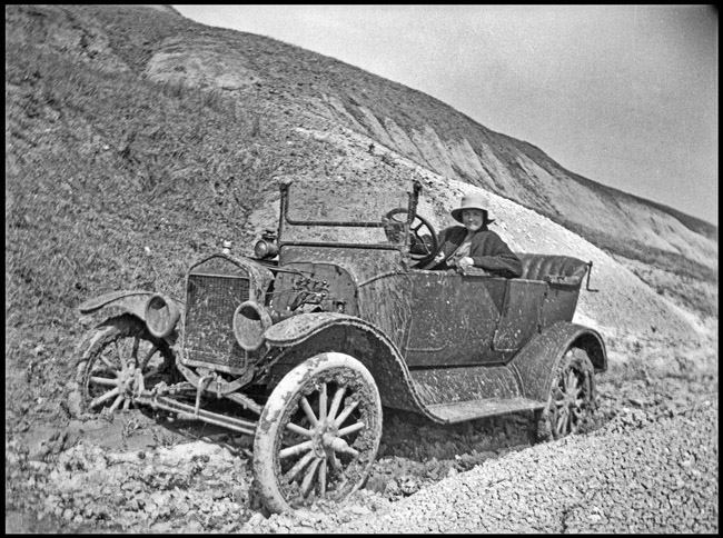 Edna Kingston was out for a fun drive in a battered 1917 Model T Touring sedan, circa 1925