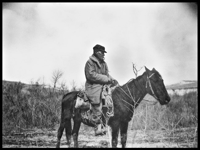 Portrait of man on Horse somewhere in Utah, circa 1919