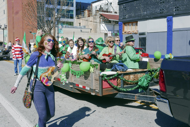 The Queen City Ukulele Club made their first appearance in the 37th St. Patricks Day Parade in Springfield, Missouri.