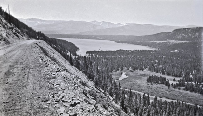 I believe this is the Million Dollar Highway which was built between Ouray and Silverton, Colorado. I think the photo was taken in the late 1930's with a camera that shot Kodak 122 film
