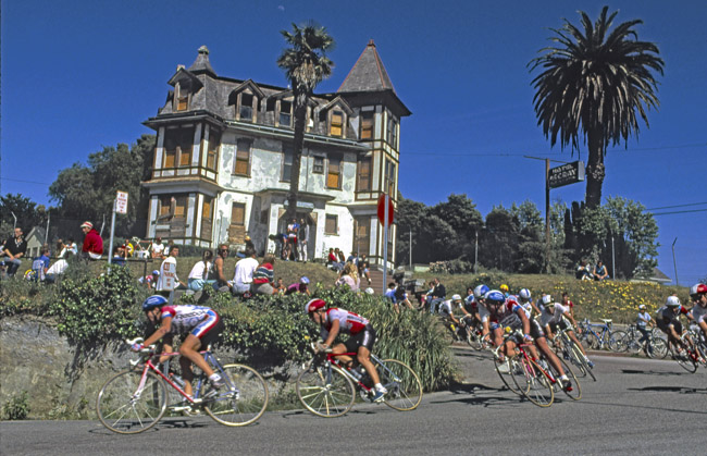 Santa Cruz road race cornering in front of Alfred Hitchcock's, Bates Motel.circa 1987