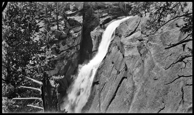 Rocky Mountain waterfall, circa 1940s