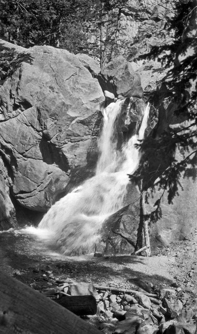 Waterfalls flowing down the Rockies, circa 1940s