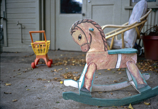 Rocking horse on back patio, circa 1991