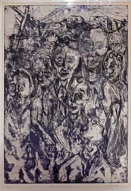 "Rodney Frew's, ""Onlookers"" an Intalgio print from the ""Watcher Series"". Circa 1959"